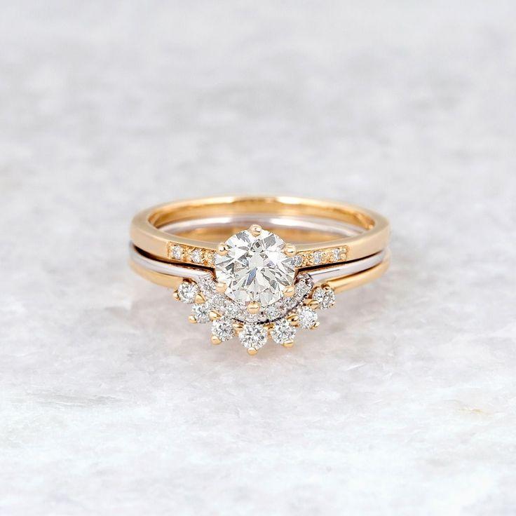 Anna Sheffield Hazeline Solitaire White Diamond Ring 14k Gold White Diamond