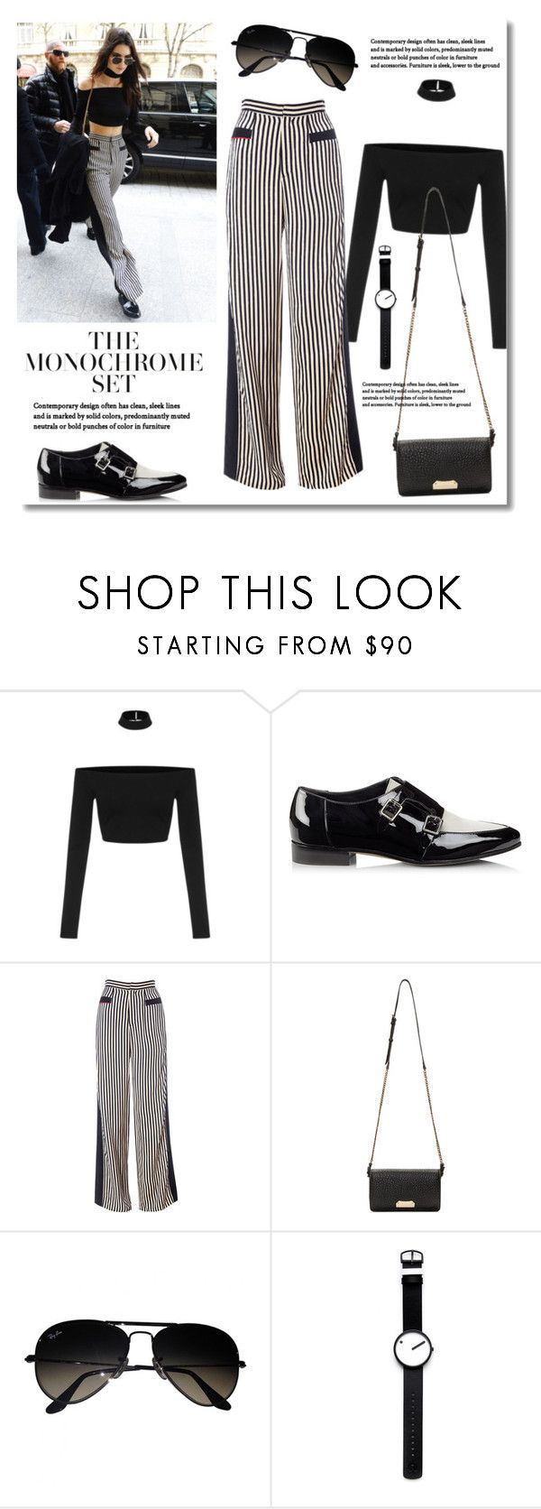 """""""The Monochrome Set: Kendall Jenner"""" by junglover ❤ liked on Polyvore featuring Jimmy Choo, Burberry, Ray-Ban and Rosendahl"""