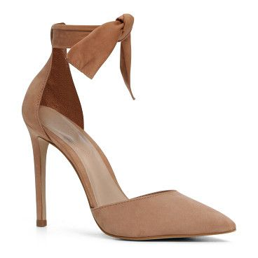 """States by ALDO. Gifts, puppies, shoes: everything is better with a bow on it, and this timeless pair is no exception. - Ankle strap. - Pointy toe. - Single sole. - Heel Height: 4.25""""Gender: womens; Color: Natural; Category: Clearance > Women's Shoes > H... #aldo #nudeshoes"""
