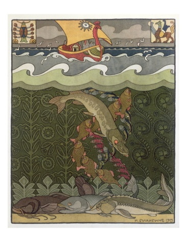 Bogatyr Volga Transforms himself into a Pike, illustration for the Russian Fairy Story, 'The Volga,' by Ivan Bilibine