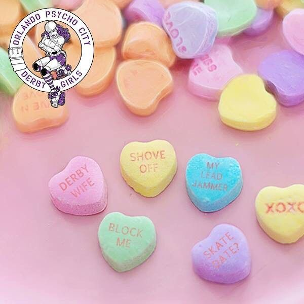 Happy Valentine's Day! Don't forget to come out at watch our double header Season Opener TODAY at 4:30pm @ Semoran Skateway!  Click the link in the bio for more info and tickets!  #opcdg #orlandoderbygirls #valentines #valentinesday #rollerderby #rollerderbygirls #candy #candyhearts #derby #derbylove by orlandoderbygirls