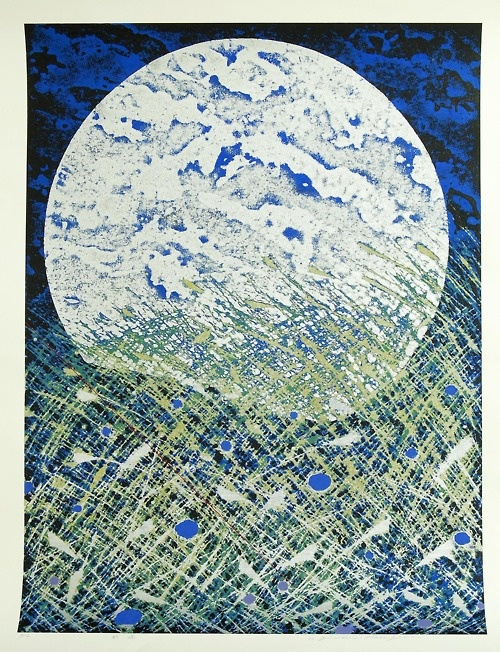 Hasegawa Yuichi. The Cool of Early Autumn   Woodblock (single block), edition 4/8, framed 98 x 78cm.