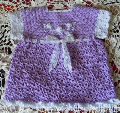 My Fancywork Blog: Сиреневое детское вязаное крючком платьице с вышив...