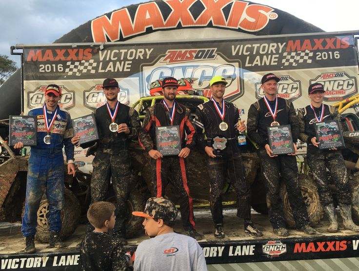 Can-Am racers recorded podiums sweeps in both the XC1 Pro UTV and 4x4 Pro ATV classes at round 12 of the GNCC series. (From left) Kevin Cunningham, Cody Miller, Chris Bithell, Kyle Chaney, Tim Farr and Angel Knox stood on the UTV podium at Powerline Park after their sweep.