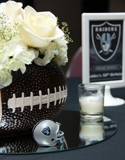 Awesome DIY Oakland Raiders Wedding Table Centerpiece ideas!  Simple to assemble and fairly elegant looking.  #footballwedding