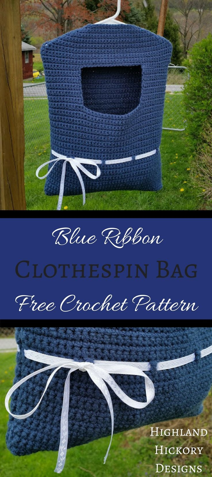 Need something to put your clothespins in when your hanging laundry on the line? Crochet your own Blue Ribbon Clothespin Bag. It's stylish and functional.