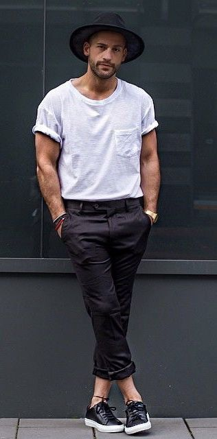 @kosta_williams – with a monochrome summer outfit idea with white pocket t-shirt black fedora black trousers gold watch wrist accessories no show socks black leather sneakers #summerstyle #summeroutfits #monochrome #menswear #menstyle #monochrome #minimal #streetstyle #streetwear #tshirt #fedora #cologne #sneakers #mensoutfits