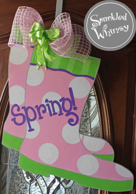 Easter Classroom Door Decor ~ Rain boots for spring door hanger sign by sparkledwhimsy