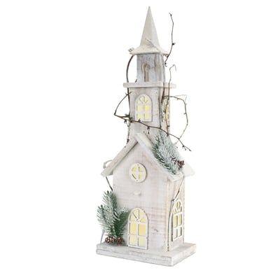 "22"" Prelit Wooden Church Christmas Decoration"