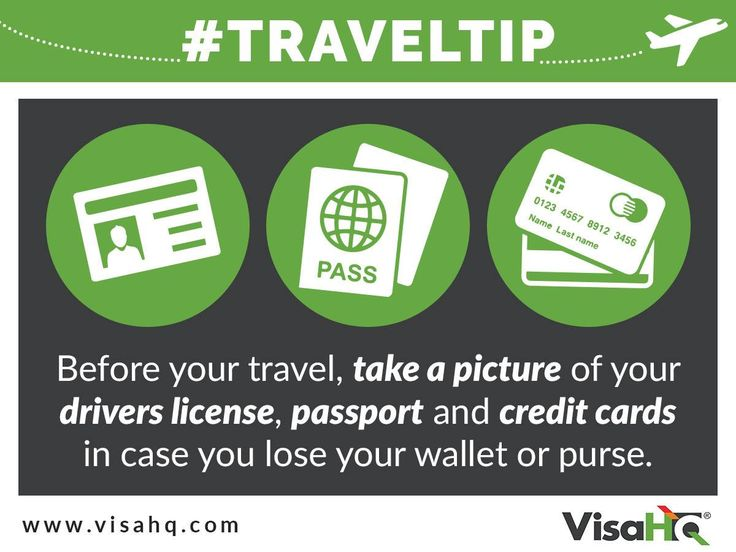 Before you #travel, take a picture of your drivers license, #passport and credit cards in case you lose your wallet or purse. In an emergency, you'll be able to verify your identity, show proof of travel, and get in touch with people at a moment's notice. And you can replace lost passport here: https://www.visahq.com/lost_passport.php #traveltip