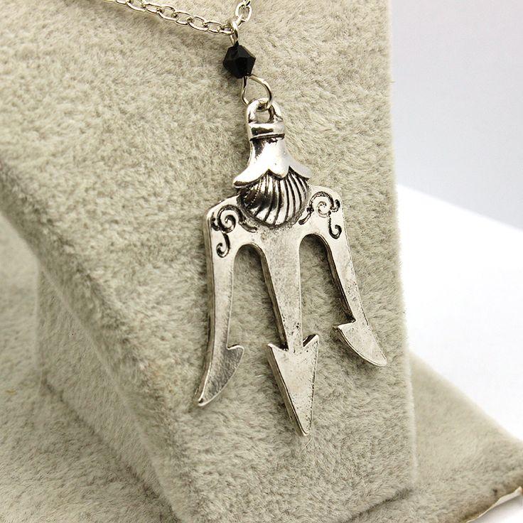 Mitología griega Percy Jackson Neptuno Tridente de Cristal Colgante de Collar de Cadena Collar de la Declaración de Alta Calidad de La Vendimia Al Por Mayor