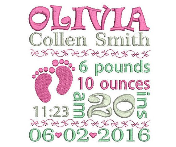 Birth announcement embroidery design - Baby birth template machine embroidery…