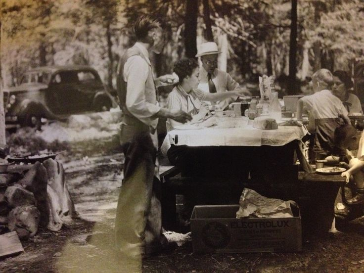 Looks like the folks from the lodge on a picnic. No details