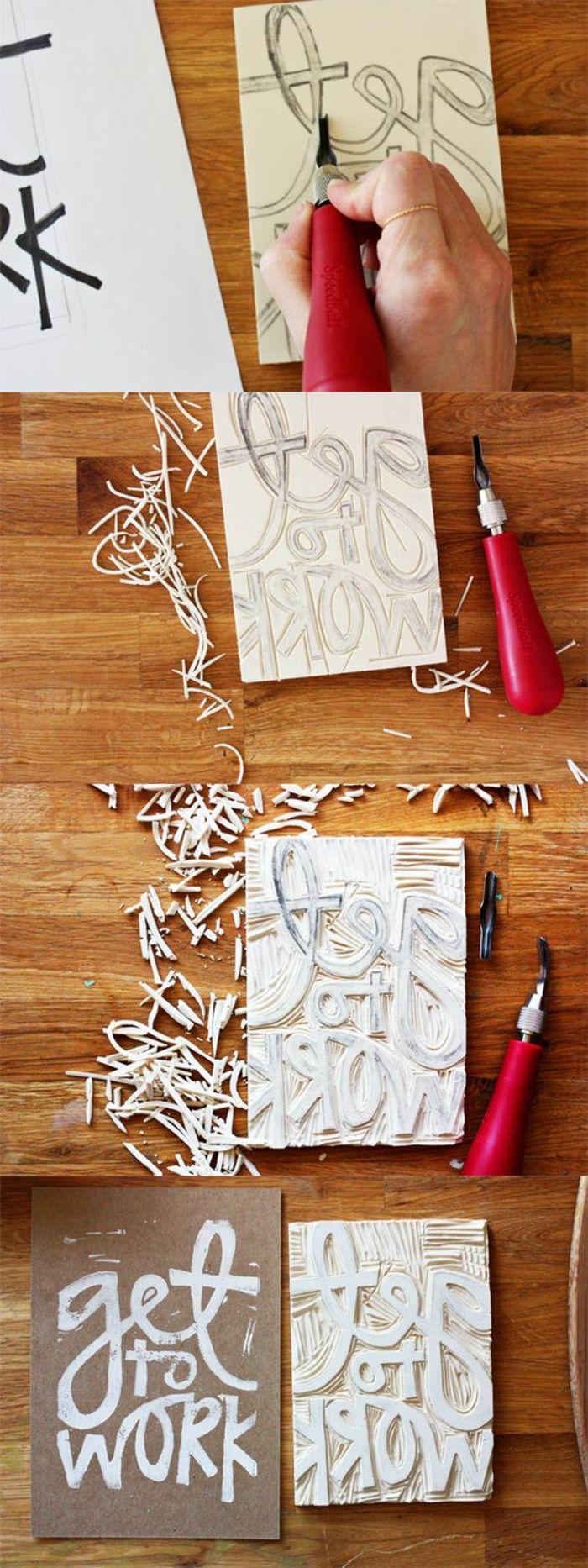 stempel selbst gestalten aus holz, buchstaben formen, diy wanddeko