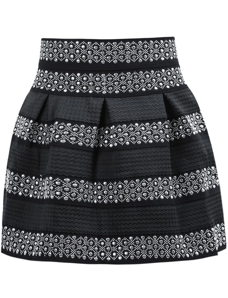 Falda rayas tachuela cintura alta-negro 14.70
