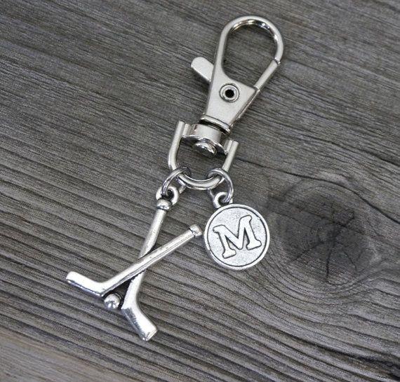 Hockey Key Chain, Silver Hockey Keychain, Personalized, Hockey Sticks Keychain, Letter Keychain, Custom, Hockey Gifts for Him Men, KLC