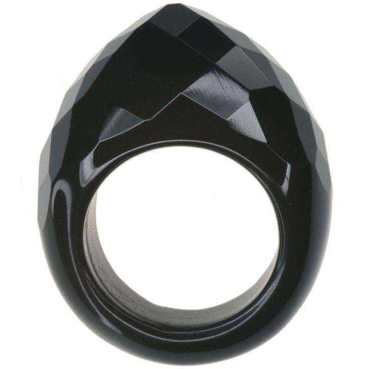 Black Agate Solid Gemstone Checkerboard Surface Peak Design Ring