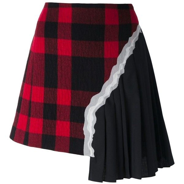 Maison Margiela plaid pleated asymmetric skirt (3,620 AED) ❤ liked on Polyvore featuring skirts, bottoms, black, patterned skirts, maison margiela, plaid skirt, knee length pleated skirt and pleated skirt