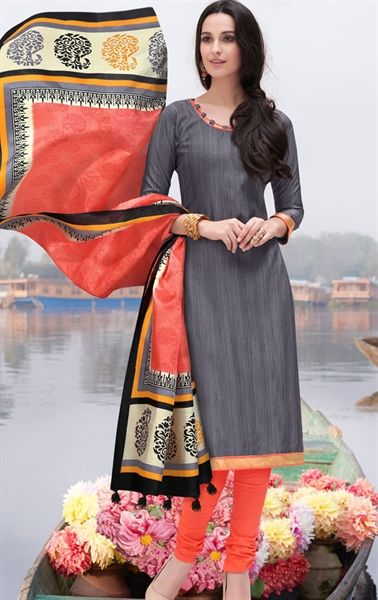Picture of Tantalizing Gray Churidar Kameez with Designer Dupatta