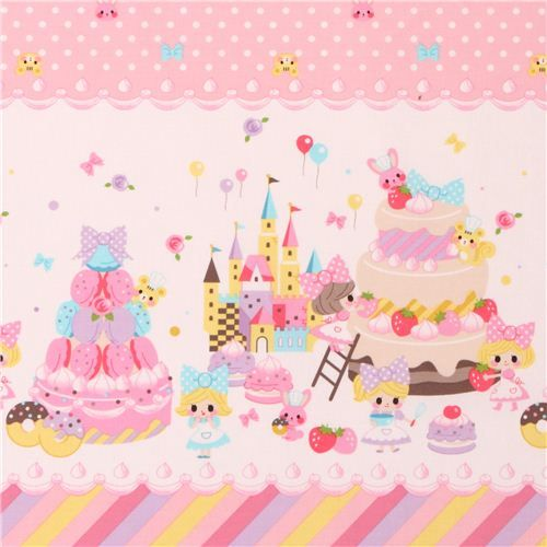 dotted girls with macaron sweets fabric by Kokka