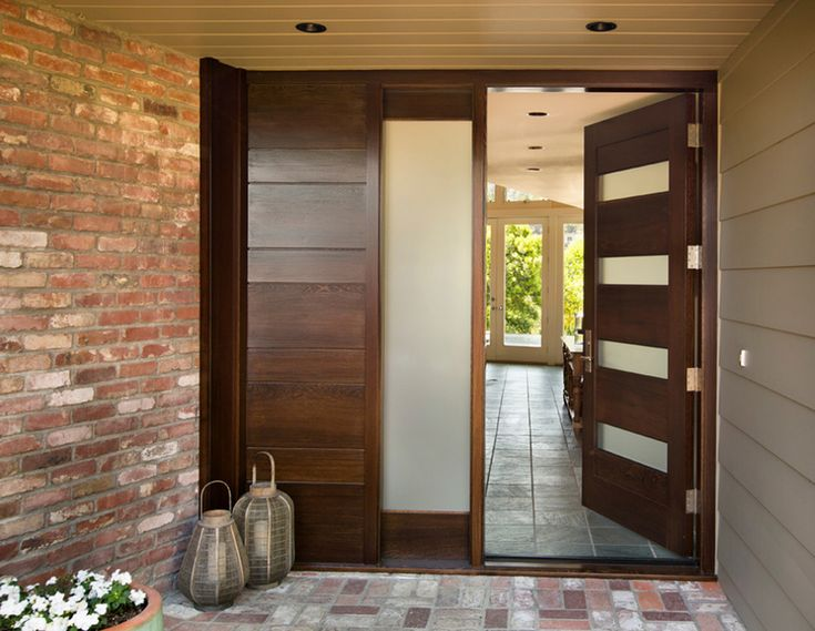 exterior ideas modern entry doors with brick walls wooden door also planters flush mount and bell create a warm welcome for any people with entry door
