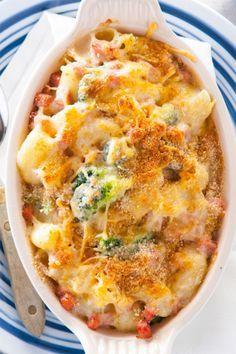 Recept voor macaroni uit de oven met ham en broccoli