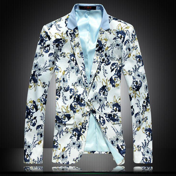 Free shipping 2014 Spring Mens fashion blazer slim one button handsome mens floral blazer flower suit Plus size XXXL 4XL 5XL 6XL-inBlazers f...