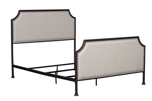 Home Meridian Industrial Clipped Upholstered Sleigh Bed - JCPenney