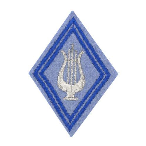 Ecusson-Bras-Losange-de-Manche-Sous-Officier-Musique-Lyre-Materiel-Armee-Francai