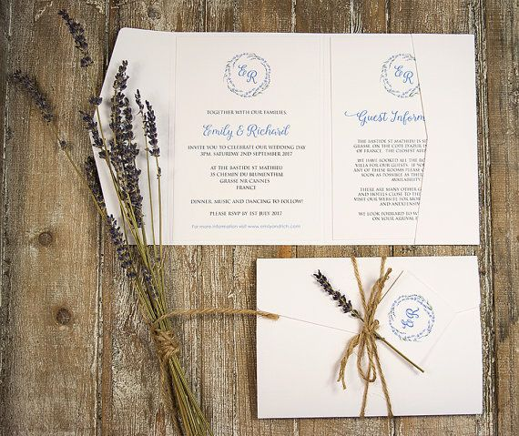 Rustic Lavender Pocketfold Wedding Invitation. Personalised With Bride And  Goroom Initials In A Lavender Wreath