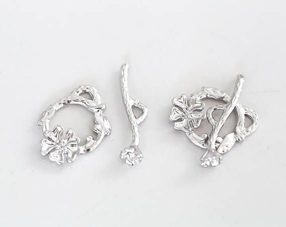 2863 Silver toggle clasp 17x21 mm Jewelry clasps Flower