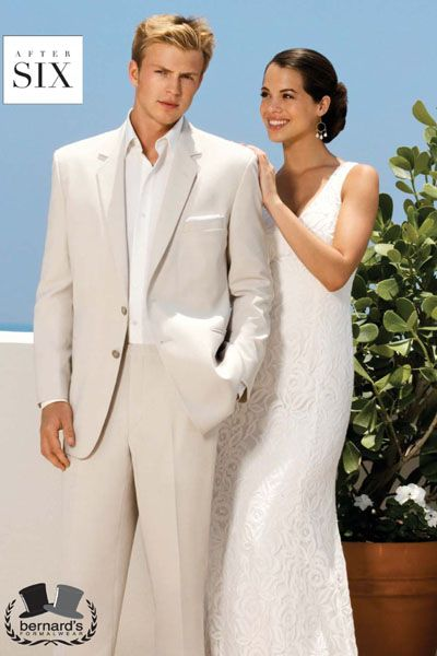 -the Riviera 2 button sand #suit    -flat front trousers  www.bernardsformalwear.com