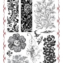 The medallion of Decadent Brocade set by Chocolate Baroque rubber stamps