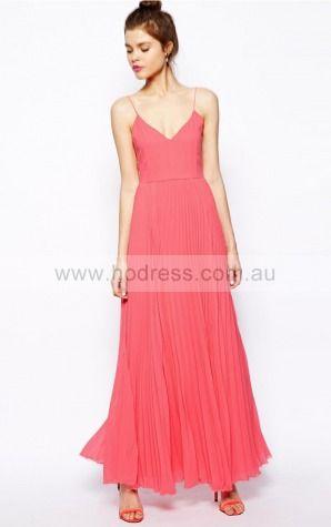 Chiffon Spaghetti Straps Natural A-line Floor-length Bridesmaid Dresses 0740152--Hodress