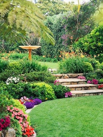 Lovely garden with stone steps.