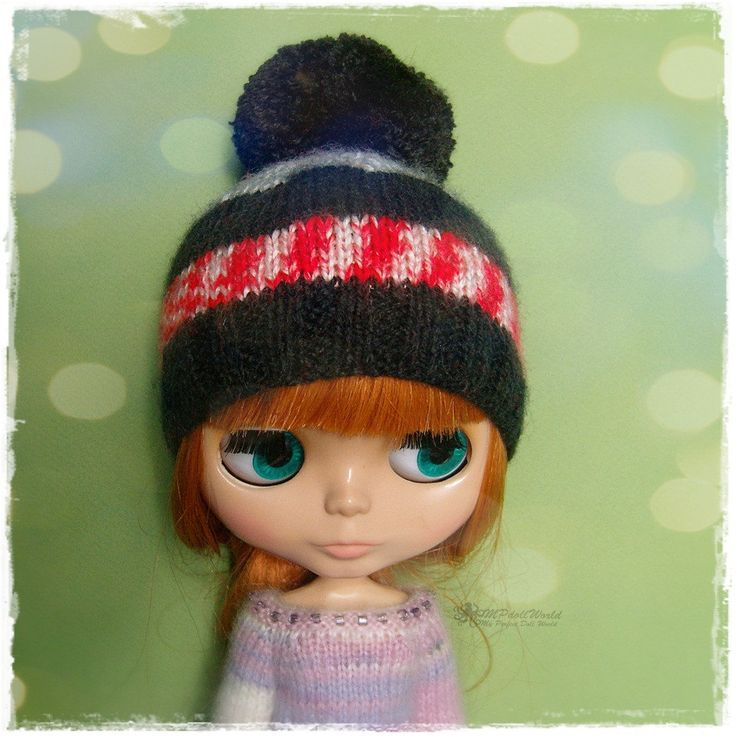 BLYTHE, Pullip, SD, SD+ Cupcake Hat - Knitted Cupcake Black, Gray, Red and White Hat With Pompom #91 by MPdollWorld on Etsy