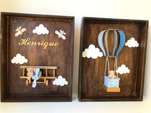 Conjunto Quadros Urso Aviador Com Imagens Porta Maternidade