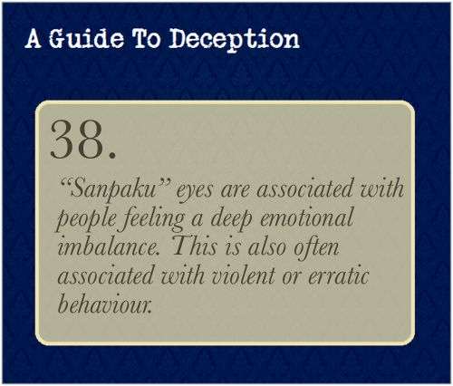 """A Guide To Deception — Sanpaku simply means seeing three """"surfaces"""" of..."""