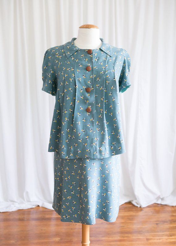 Easton maternity set | vintage 30s maternity dress set | blue novelty print rayon 1930s dress | 1930s blue top & skirt | 40s blue day dress