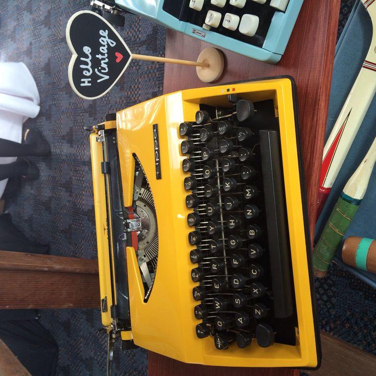 Our darling 'Sunshine Yellow' typewriter available to hire    www.hellovintage.com.au www.facebook.com/hellovintagehire    #hellovintage #vintage #vintagewedding #wedding #weddingdecoration #hipsterwedding #hipster #reception #customwedding  #weddingphotography  #weddinghire #typewriter #vintagetypewriter #vintageprop #guestbook