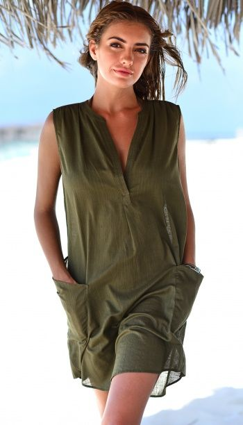 8024a158e495b Khaki beach cover-up. Easy and stylish beach dress to throw over your bikini .