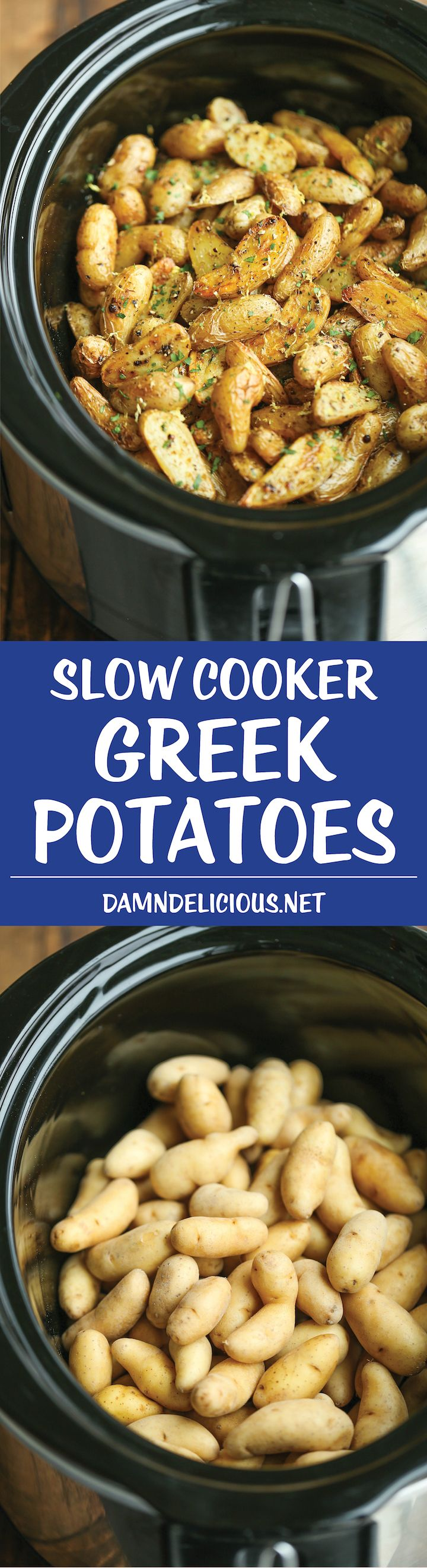 Slow Cooker Greek Potatoes - Buttery crisp-tender potatoes with olive oil, garlic, lemon and oregano. Made so easily in the crockpot - less than 5 min prep!