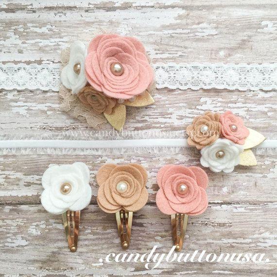 Regalos bebé ducha diadema flor fieltro rústico boda
