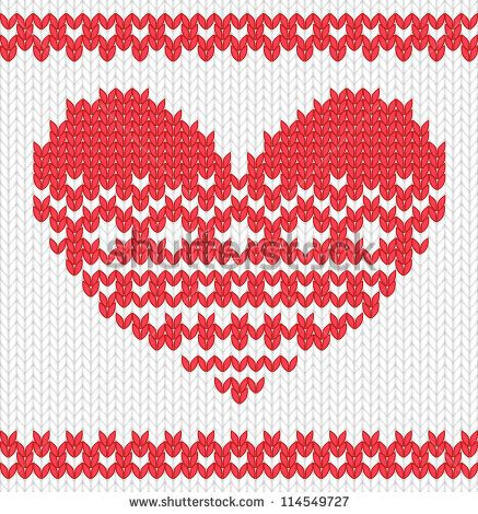 Knitted vector heart on seamless background. EPS 10 vector illustration.
