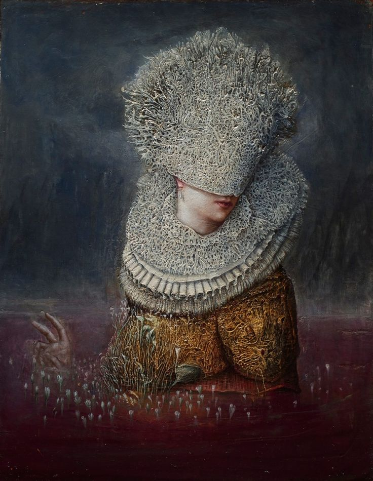 Ematofagi , Erzebeth Bathory ( The Blood Countess and Countess Dracula)  2014 oil , gold leaf on wood by Agostino Arrivabene