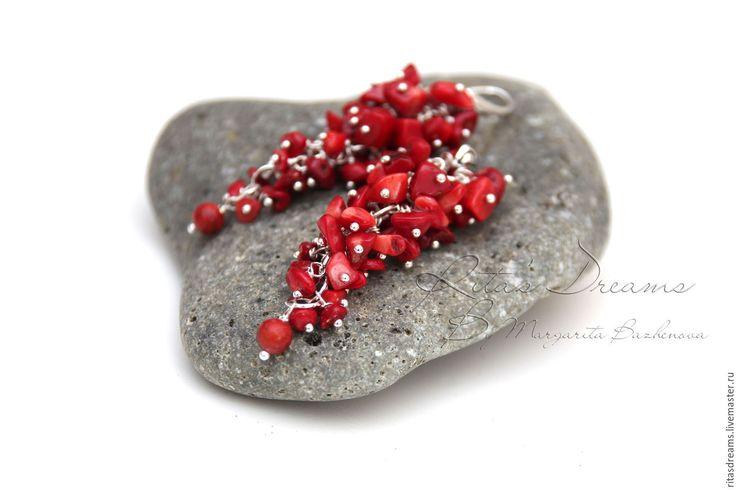 Купить Коралловые серьги Красные, с кораллами серьги-гроздья, коралл длинные. - серьги-гроздья красные