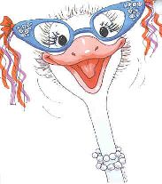 CORNELIA PLUME - a flamboyant bachelorette ostrich who teaches girl's gym at the Duckport School