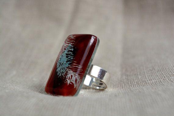 Diep rode ring veer ring gesmolten glas sieraden door BGLASSbcn