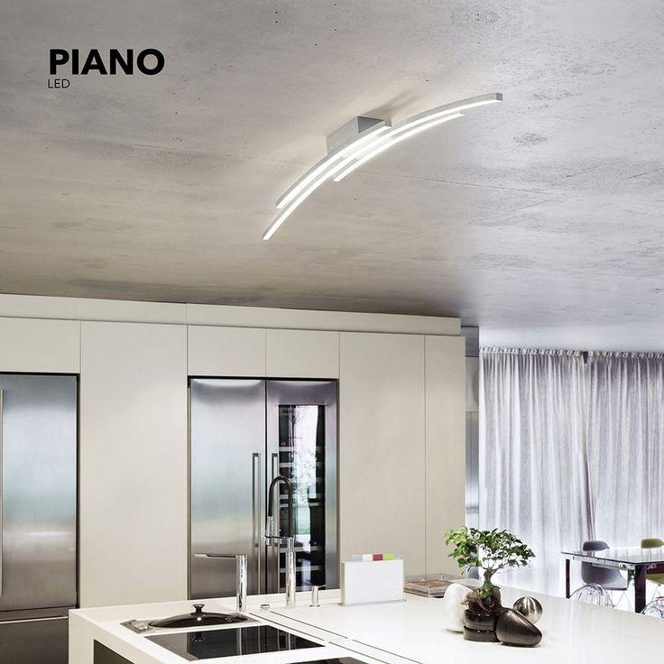 Piano LED-Deckenleuchte 114 cm / 5440 Lumen / Alu-matt 47320