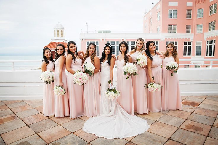 St Petersburg Bridal Party in Blush Pink Chiffon Bridesmaid Dresses and White Lace Mermaid Sweetheart Wedding Dress at Wedding Venue The Don Cesar